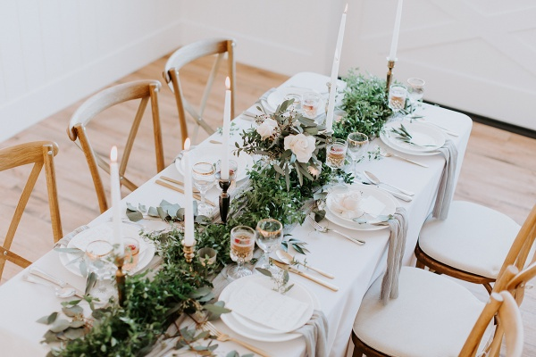 Elegant white and greenery tablescape