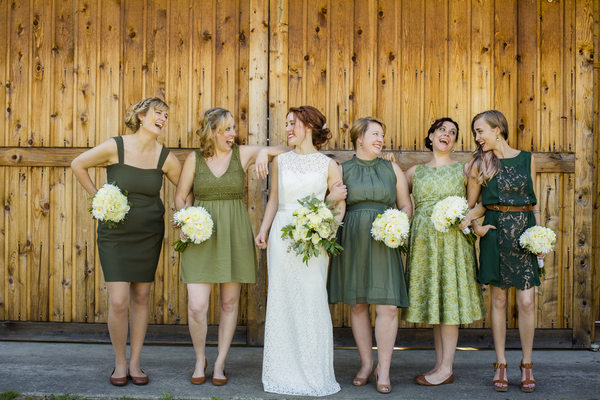 The Bride and Her Bridesmaids Share a Moment After the Ceremony
