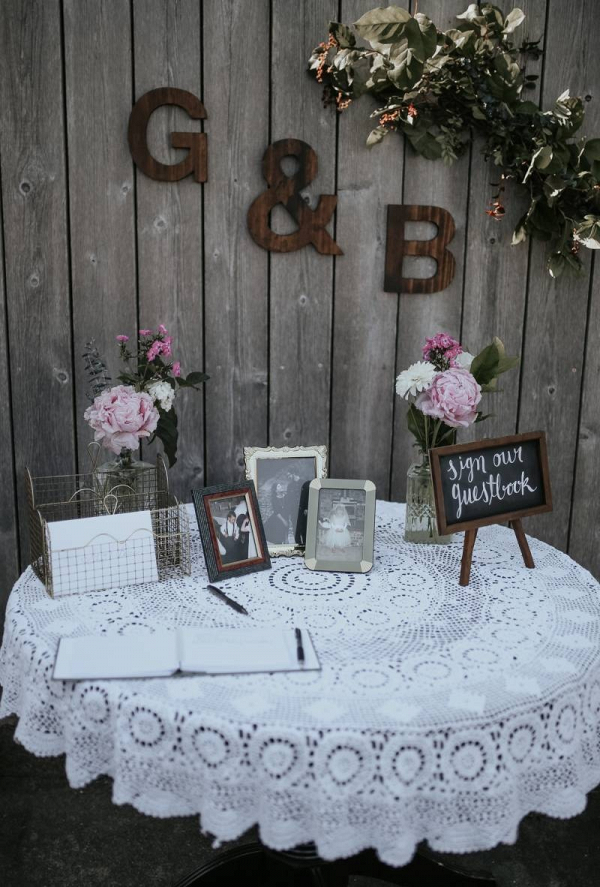 Vintage guestbook table