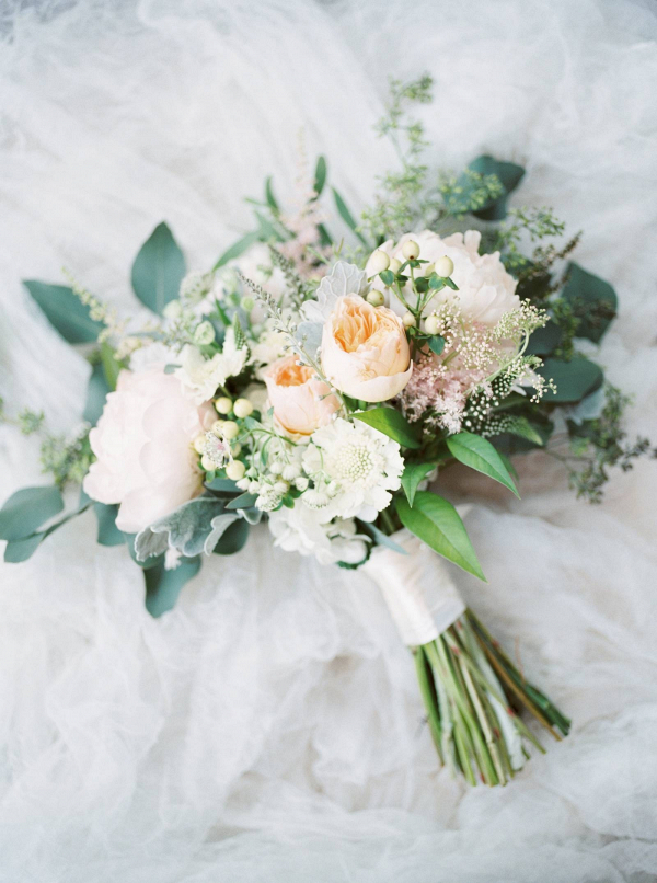 Blush and peach bridal bouquet