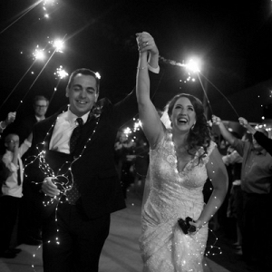 A Sparkler Exit Draped in Twinkle Lights? Yes Please!