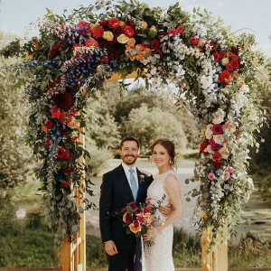 Oversized floral wedding arch