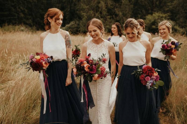 Bridesmaids in navy and white separates