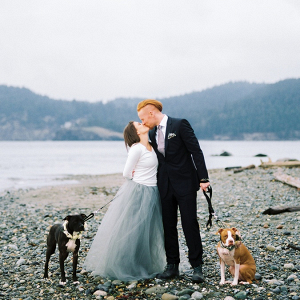 Romantic PNW engagement session with dogs