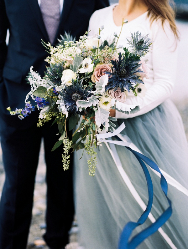 Wintery blue bouquet