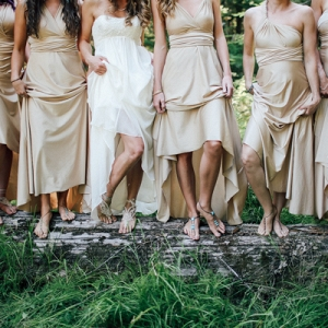 The Bride and Her Bridesmaids Wore Barefoot Sandals to Fit With the Organic Theme