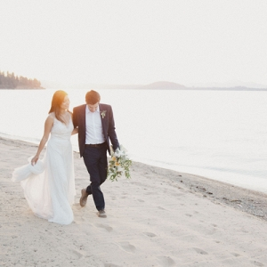 The Gorgeous Bride and Groom Celebrate Their Marriage Quietly as the Sun Sets