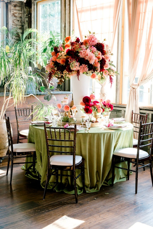 Tall oversized wedding floral centerpiece