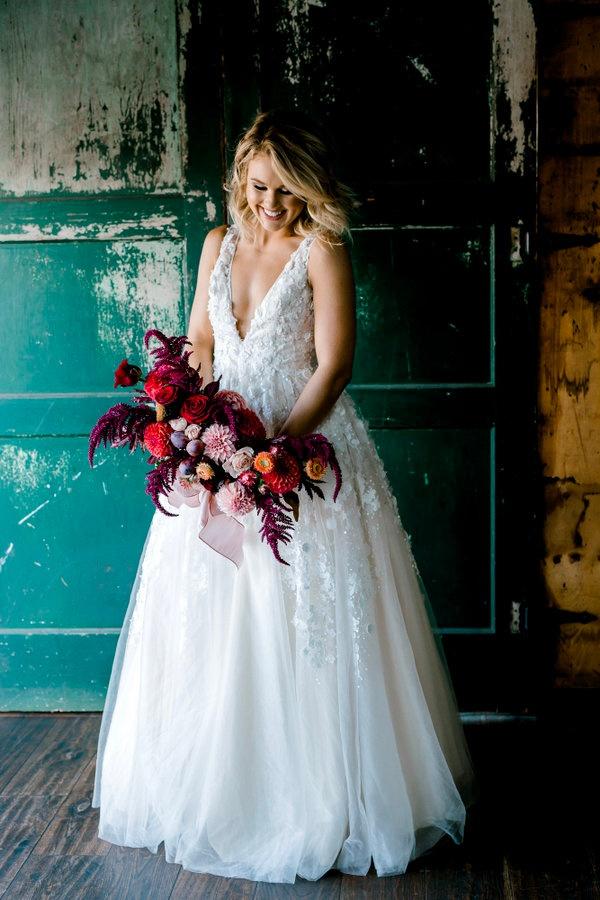 Burgundy and orange bridal bouquet