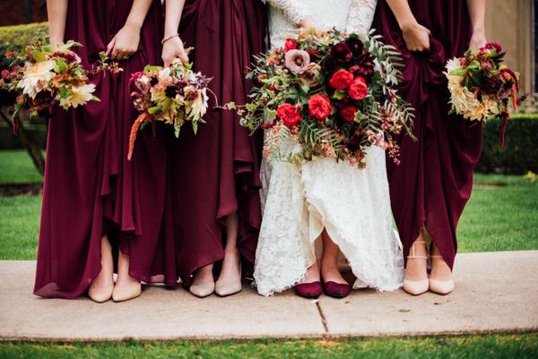 Burgundy bridal party