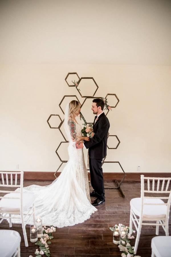 Geometric ceremony backdrop