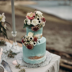 Small semi-naked wedding cake