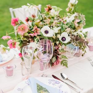 Pastel wedding tablescape