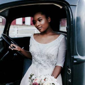 Bride in vintage truck