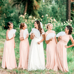 Peach bridal party
