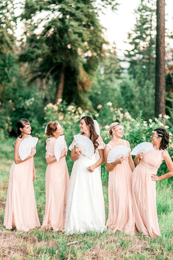 Peach bridal party