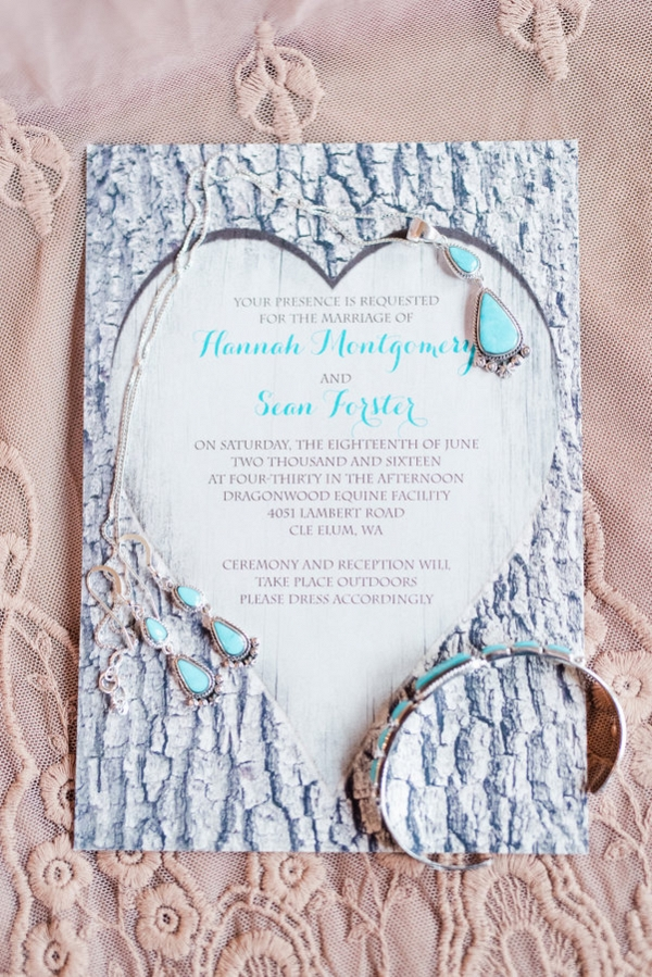 The Rustic Invitations Set the Tone for the Wedding