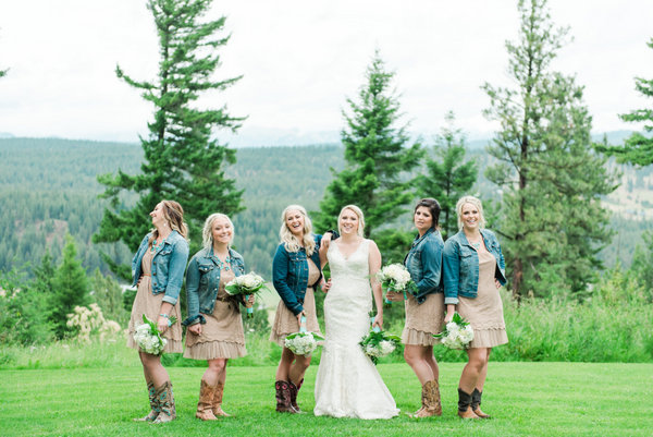 The Bridesmaids Added Denim Jackets to Their Dresses