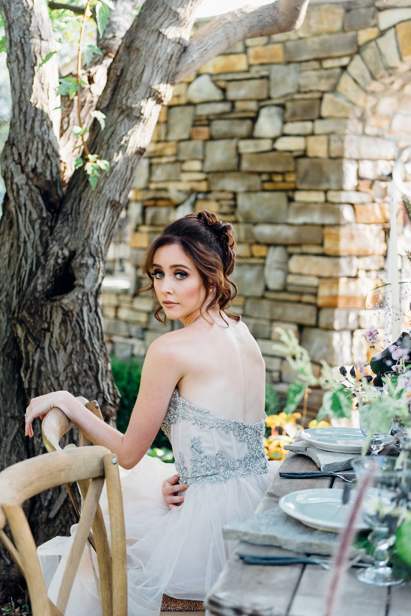 Bride in Beaded Gown at Foraged Table