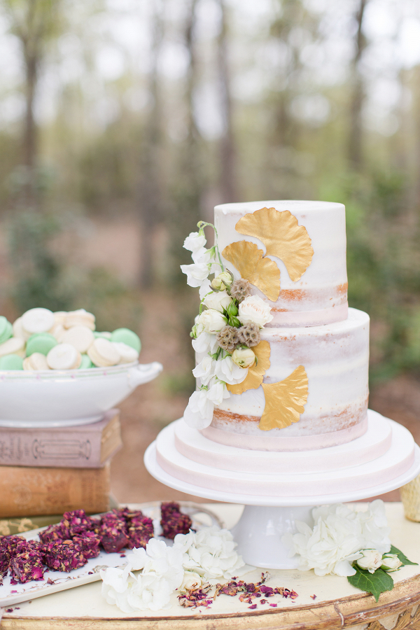 Semi Naked Cake with Gold Gingko Leaves