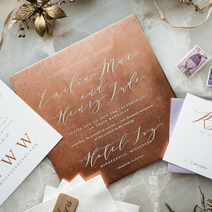 Copper and Calligraphy Stationery Suite