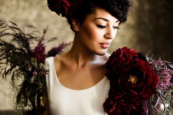 Bride in Dramatic Floral Shrug