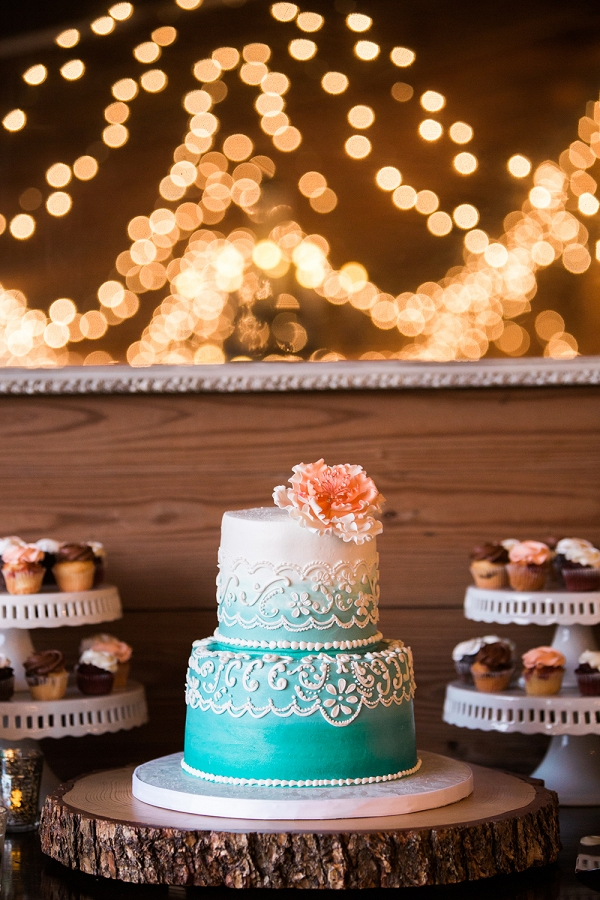 Tiffany Blue Ombre Wedding Cake