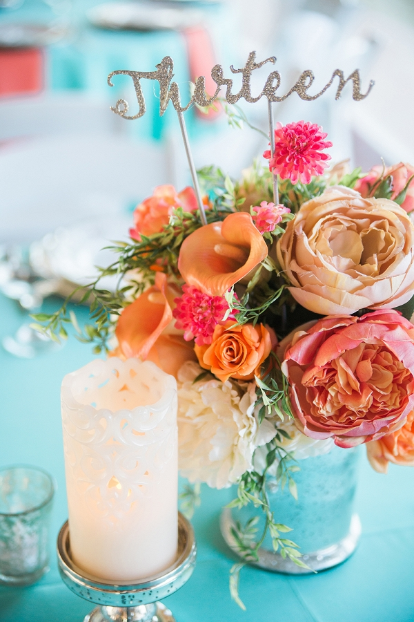 Floral Centerpiece with Glitter Table Number