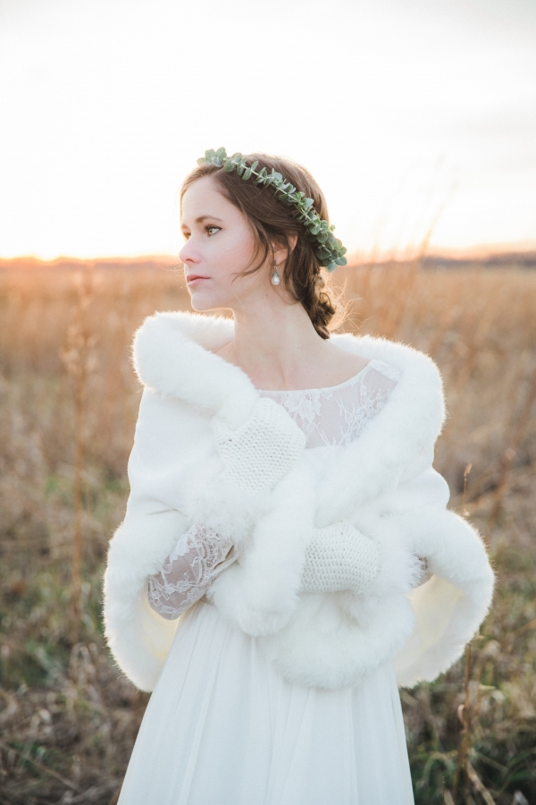 Winter Bride with Faux Fur Wrap and Mittens