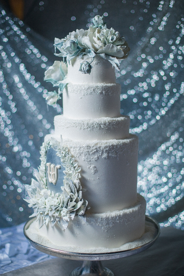 Tiered Wedding Cake with Icicles and Frost