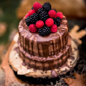 Naked Chocolate Drip Cake with Berries