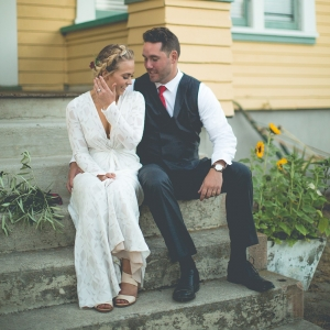 A backyard wedding at the bride's childhood home