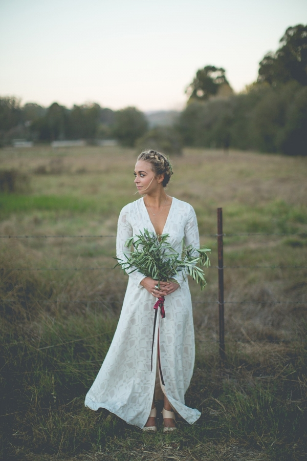 A boho Stone Cold Fox dress and handpicked bouquet