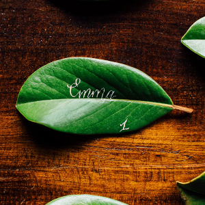 Leaf Place Card with Calligraphy
