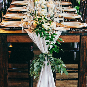 Communal Table with Greenery Table Runner