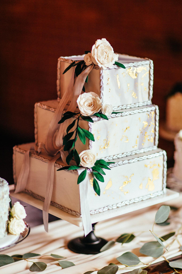 Marbled Square Tiered Wedding Cake
