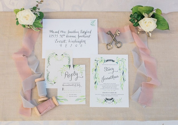 Watercolor and Calligraphy Invitation Suite