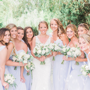 Bridesmaids in Light Lavender Gowns