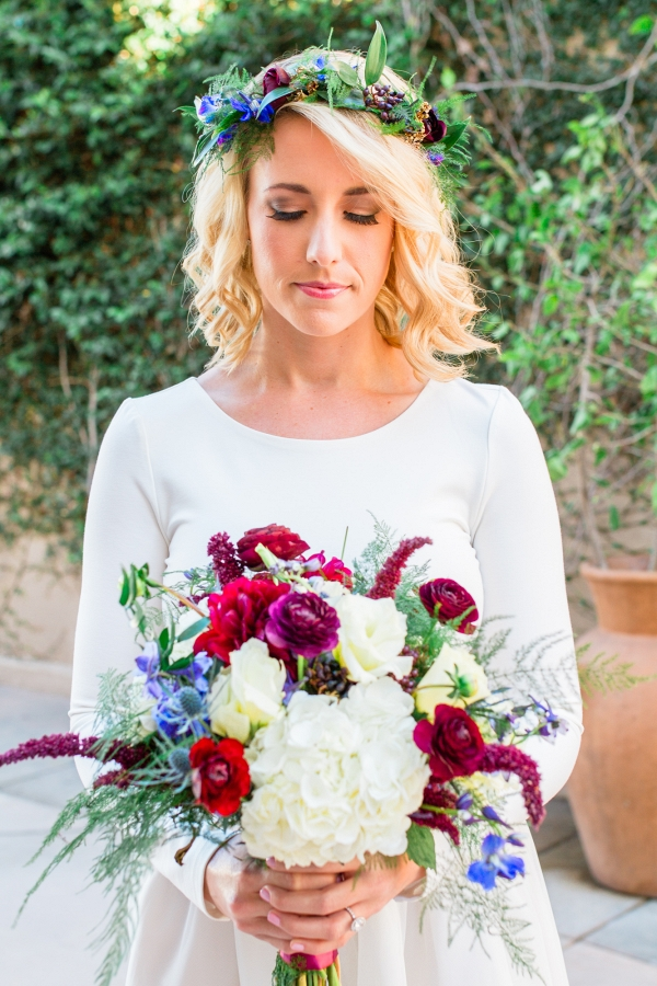 Bride with Winter Bouquet and Floral Crown