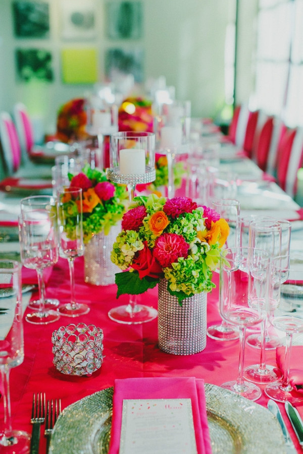 Neon Reception Table With Rhinestone Accents