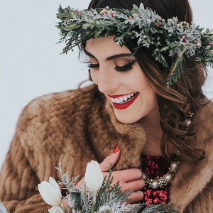 Winter Bride with Floral Crown and Red Sequin Gown