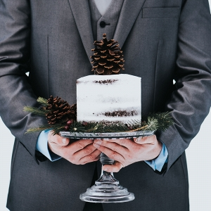 Winter Naked Wedding Cake