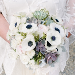 Elegant White Bouquet With Succulents