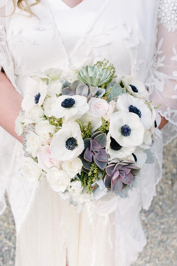 Elegant White Bouquet With Succulents