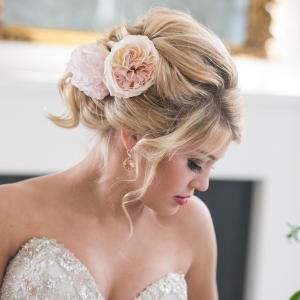 Elegant Bridal Hairstyle with Ranunculus