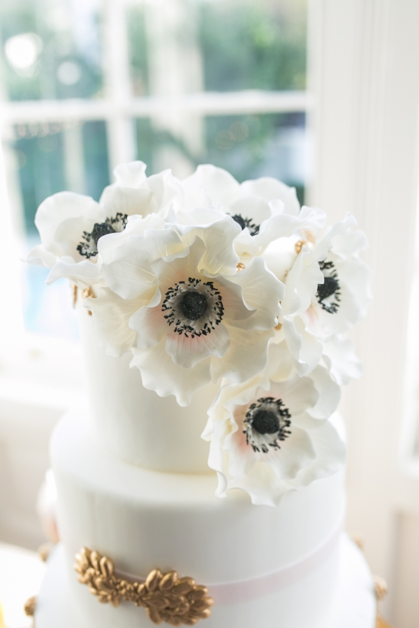 White Anemone Topped Wedding Cake