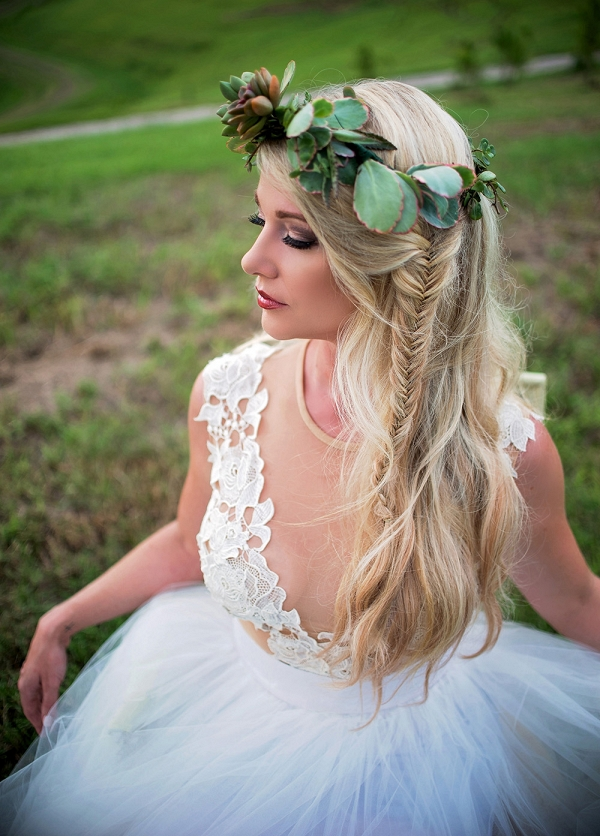 Boho Bride With A Succulent Crown And Fishtail Braid