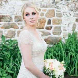 Bride Wearing Beaded Maggie Sottero Dress
