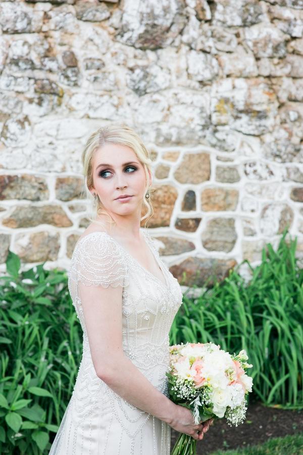 Bride Wearing Beaded Maggie Sottero Dress