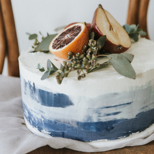 Watercolor Cake Topped with Blood Orange